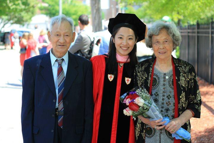 Doctorate Graduation with grandparents